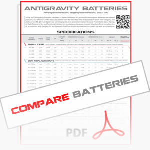 Antigravity Lithium Batteries Specs Comparison