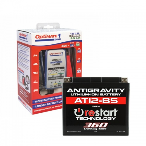 AT12-BS Restart Battery & Optimate Duo1 Lithium charger